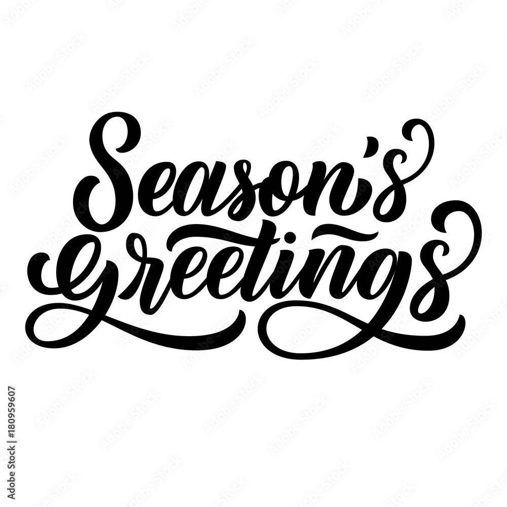 Fototapeta Season's greetings brush hand lettering, isolated on white background. Vector type illustration. Can be used for holidays festive design.