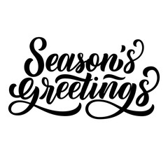Season's greetings brush hand lettering, isolated on white background. Vector type illustration. Can be used for holidays festive design.