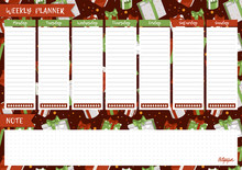Printable Weekly Planner. Cute Page For Notes. Notebooks,decals, Diary, School Accessories. Cute Gift Boxes, Presents For Christmas Holidays