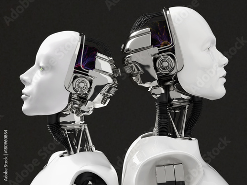 Photo 3D rendering of the heads of a female and male robot.