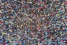 Top View Of The Crowd Of Peopl...