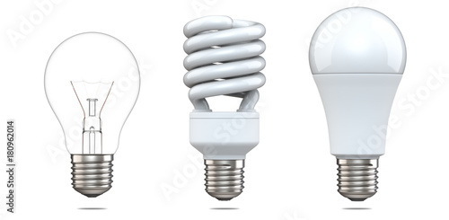 Obraz 3d rendering set of tungsten bulb, fluorescent bulb and LED bulb. 3d illustration, evolution of energy saver lamps, isolated on white background. - fototapety do salonu