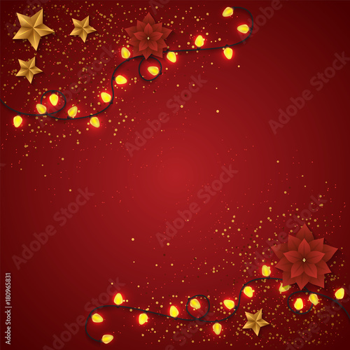 Merry Christmas Vector Light Garlands On Red Background