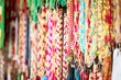 Colorful strings beads on street market