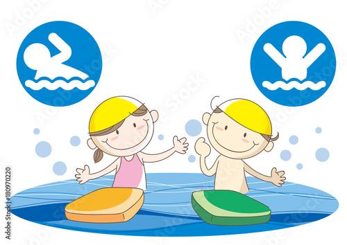 Obraz na plátně 子供水泳スクールイメージ