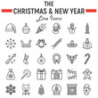 Christmas line icon set, new year symbols collection, vector sketches, logo illustrations, holiday signs linear pictograms package isolated on white background, eps 10.