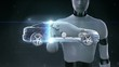 Robot, cyborg touching Electronic, ion battery echo car. Charging car battery. Battery level check, future car.2.