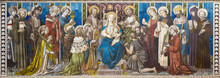 LONDON, GREAT BRITAIN - SEPTEMBER 17, 2017: The Tiled Mosaic Of Madonna Among The Saints On The Altar In Church Of St. James Spanish Place From 19. Cent.