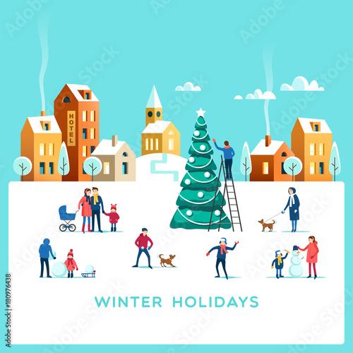 Spoed Foto op Canvas Turkoois Winter holidays. Snowy street. Urban landscape with people. Vector illustration.