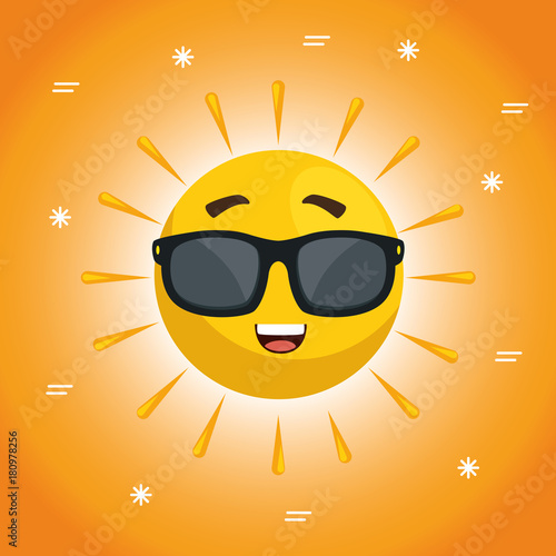 Obraz summer sun face cartoon - fototapety do salonu