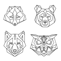 Geometric set of four vector animal heads: fox, bear, wolf, owl, drawn in line or triangle style, suitable for modern tattoo polygonal templates, icons or logo elements.