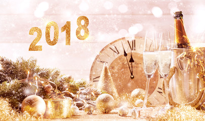 2018 festive gold background with champagne
