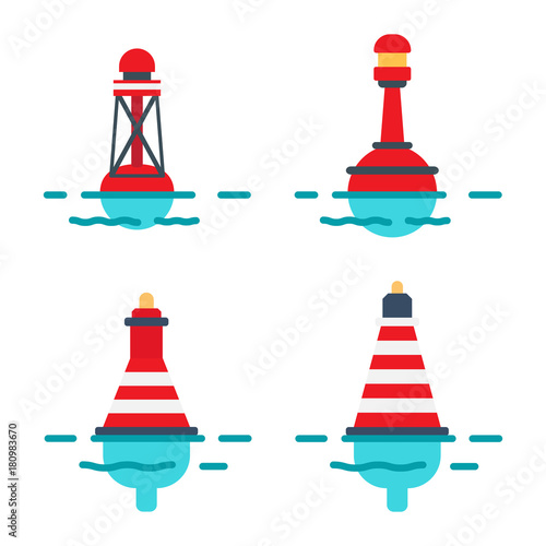 Photo Striped Buoys in Water Isolated Illustrations Set