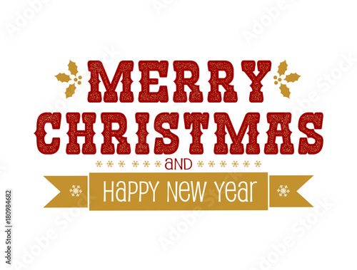merry christmas and happy new year label vector illustration for greeting card