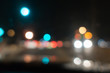 Bokeh lights from traffic jam on night time for background
