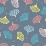 Seamless pattern with ginkgo leaves. - 180990403