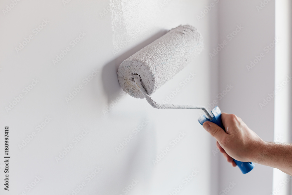 Fototapeta Male hand painting wall with paint roller. Painting apartment, renovating with white color paint