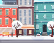 Winter city with snow. Houses on street with road in town.