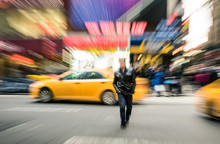 Radial Blur Of Yellow Taxicabs...