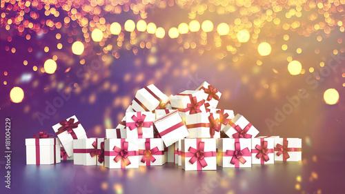 Αφίσα Haufen Geschenke zu Weihnachten unter Lichtern