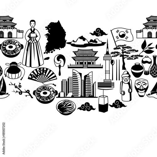 Photo  Korea seamless pattern. Korean traditional symbols and objects