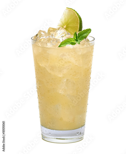 Lemonade with ice and sliced lemon in big tall glass isolated on white background