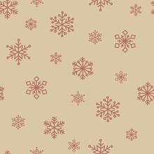 Beige Snowflake Vector Seamles...
