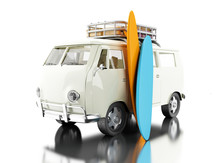 3d  Surfing Van With Colorful ...