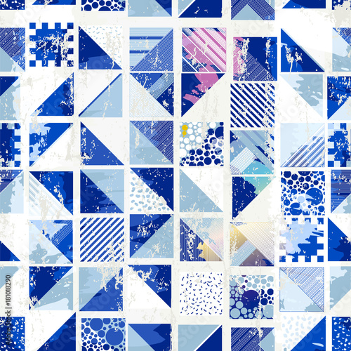 abstract geometric background, with squares, dots, paint strokes and splashes, seamless