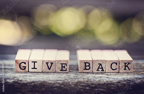 Fotografie, Obraz  give back in alphabet letters