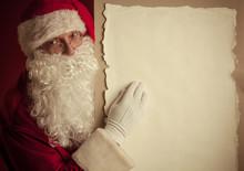 Santa Claus With Vintage Paper