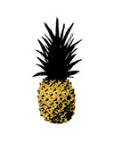 Stylish hand drawn grunge pineapple vector print with golden glitter texture - 181024681