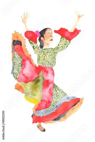 Fotografering  A water colored dancing gypsy on the white background.