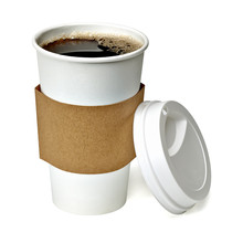 Coffee In Takeaway Cup With Sleeve Isolated On White Background Including Clipping Path