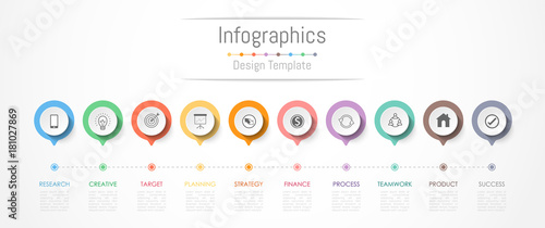 Photo  Infographic design elements for your business data with 10 options, parts, steps, timelines or processes
