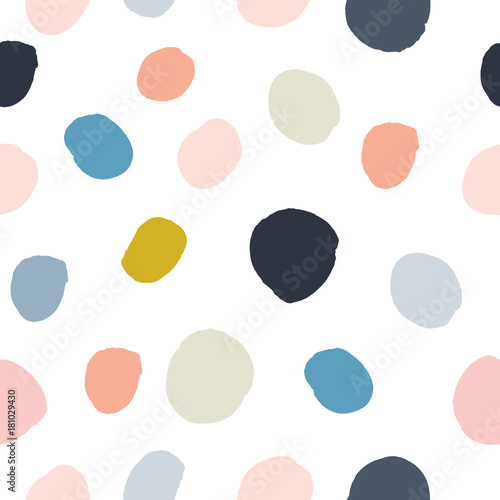 Photo Pastel powder pink, navy blue, salmon, beige, grey watercolor hand painted polka dot seamless pattern on white background