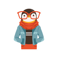 Cute Fashion Penguin Guy Chara...