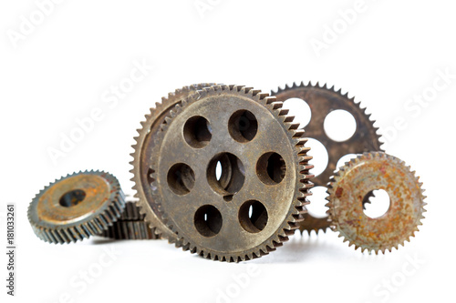 Old Rusty Gears isolated on white Poster