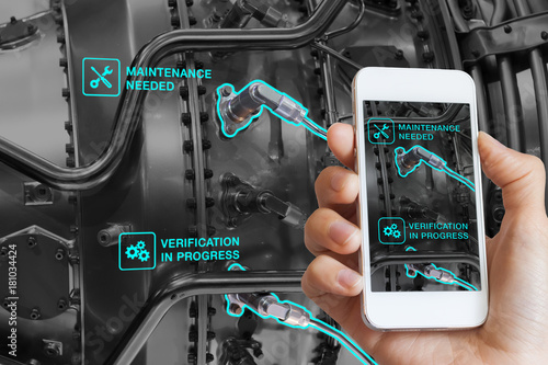 Photo Augmented Reality technology maintenance, technician using smartphone, AR interf