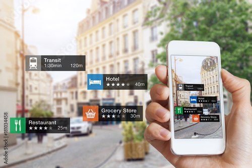 Photo  Augmented Reality information technology, hand, smartphone screen, street busine