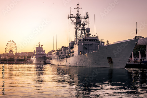 Numancia frigate of the Spanish army in the port of Malaga Wallpaper Mural