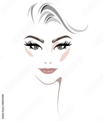 women short hair style icon, women face makeup on white background