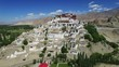 Buddhist Monastery / Aerial view of Buddhist Monastery in a beautiful valley, flying over a Buddhist Monastery. Himalaya, Ladakh, Drone.