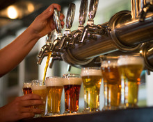 Craft Beer Flight With Hands