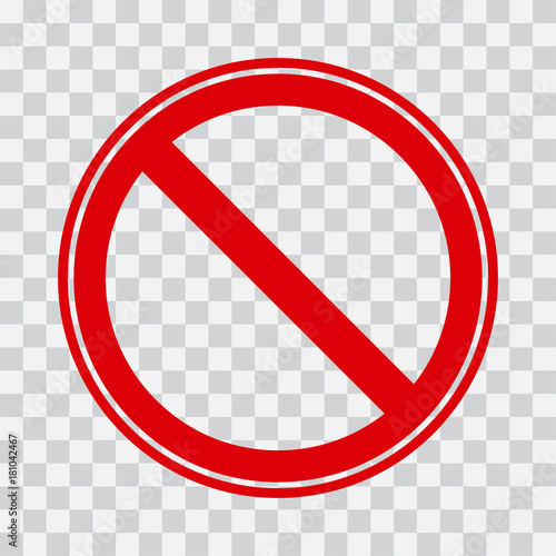 Red stop icon on transparent background. No symbol. Vector illustration