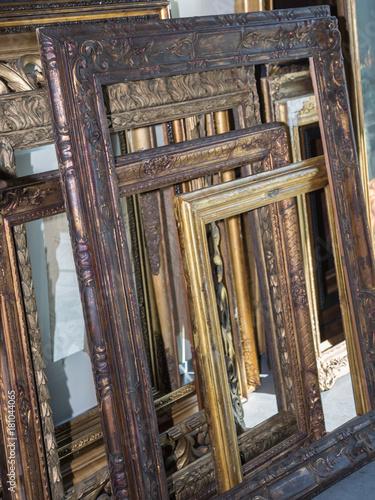 Stack of Golden Wooden Vintage Frames, Indoors - Buy this stock ...