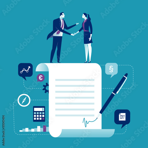 Fototapeta Agreement. Business people standing on a signed contract. Concept business vector illustration obraz