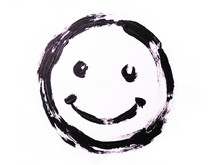 Black Smiley Drawn On A White Background. Grunge Drawing. Smile Face