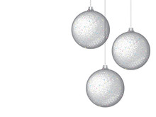New Year's Glass Balls On A White Background