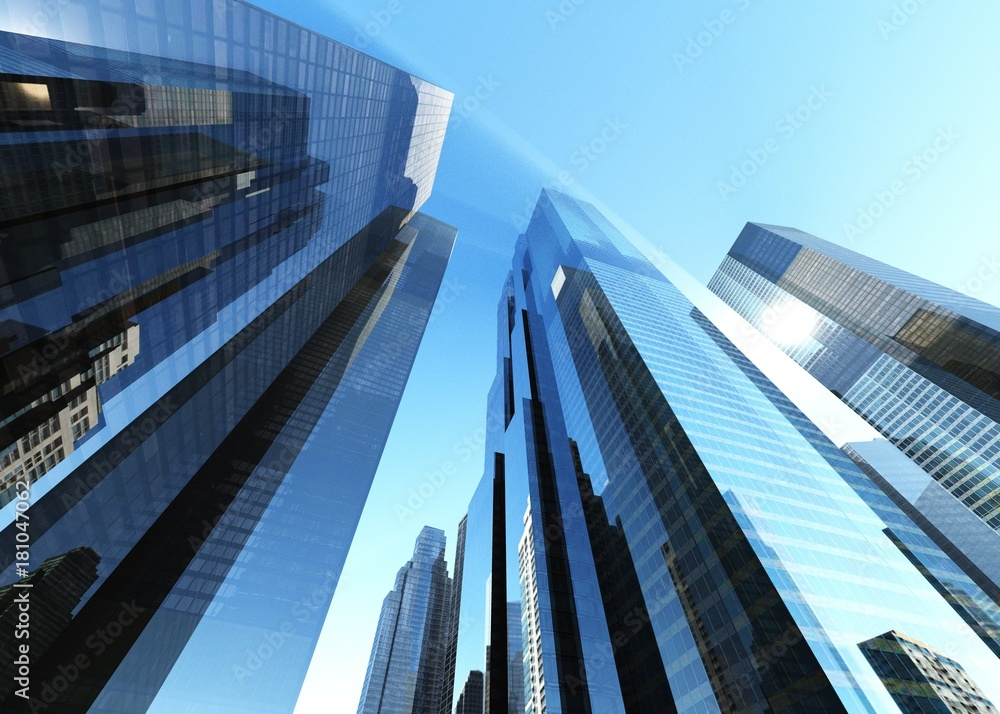 Fototapety, obrazy: skyscrapers against the clouds, modern buildings view from below, banner, 3D rendering